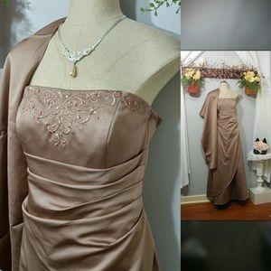Davids Bridal Moca brown Gown/dress